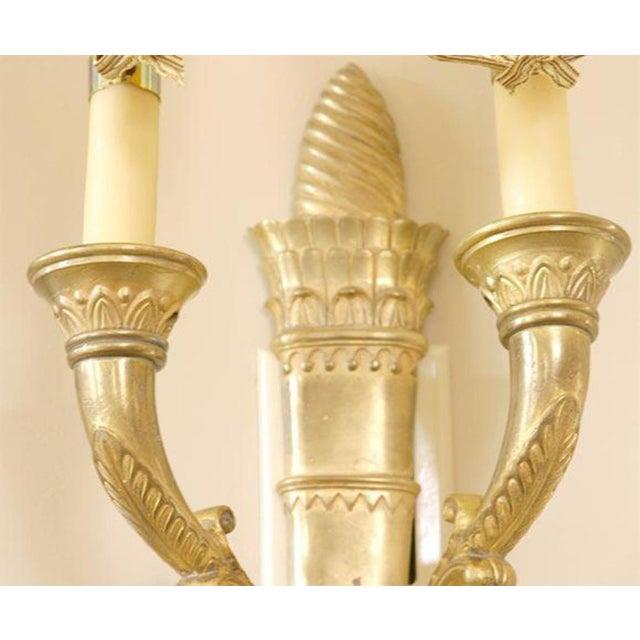 Bronze Dore Empire Sconces - Pair For Sale - Image 4 of 7