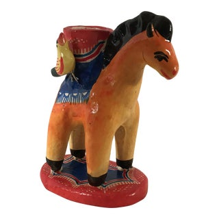 20th Century Folk Art Mexican Red Ceramic Candle Holder