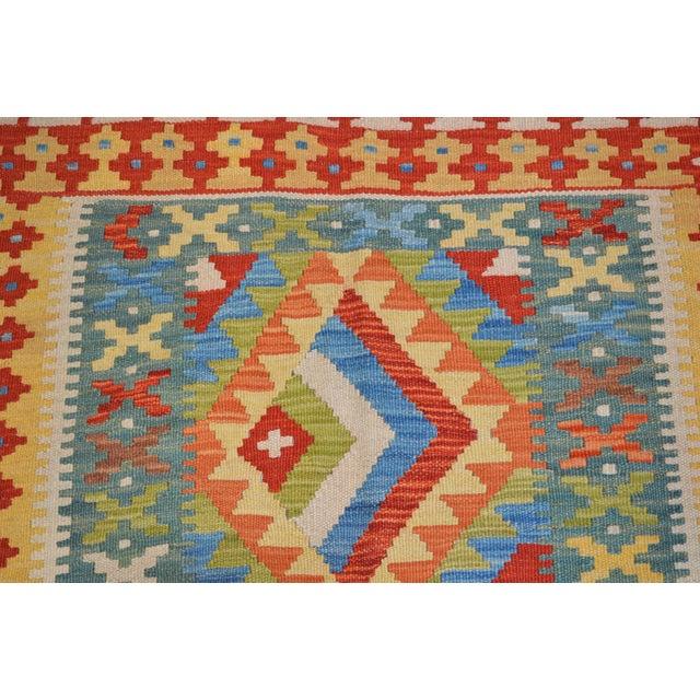 Afghan Vintage Maimana Red & Blue Wool Kilim Rug - 3'6″x5′ For Sale - Image 3 of 4