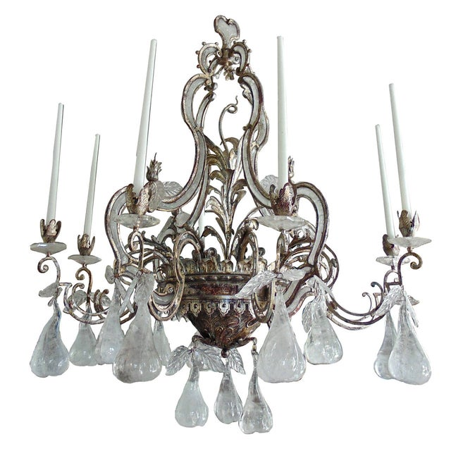 Large Silvered Iron and Rock Crystal, Eight-Arm Chandelier For Sale - Image 11 of 11