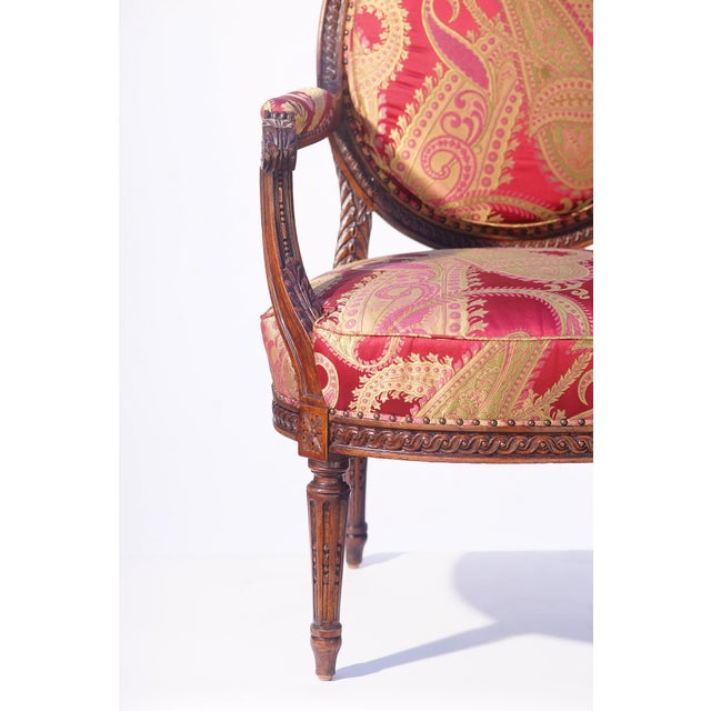 19th Century 19th C. French Walnut Armchair For Sale - Image 5 of 6