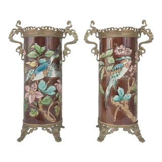 Pair 19th Century Barbotine Vases With Bronze Mounts For Sale