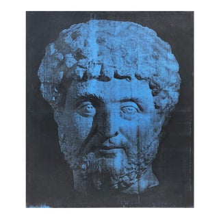Large Vintage Pop Art Silkscreen Oil on Canvas of a Greco Roman Head 1985 For Sale