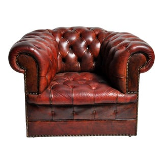 1940s Art Deco Leather Chesterfield Chair on Casters For Sale