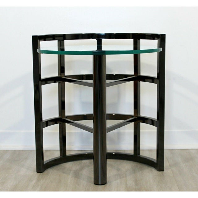 Contemporary Modern Brueton Round Gunmetal Glass Side End Table 80s Asymmetrical For Sale In Detroit - Image 6 of 12