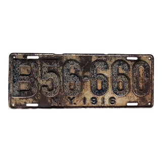 Antique License Plate New York 1916 For Sale