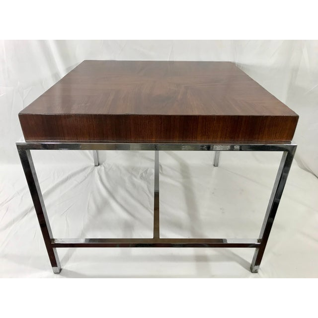 Ultra slick and cool MCM chrome and rosewood square coffee table. Just like Goldilocks this is this table is not too big...