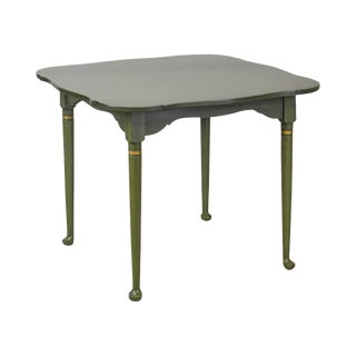 Hitchcock Vintage Green Painted Stenciled Dining Table