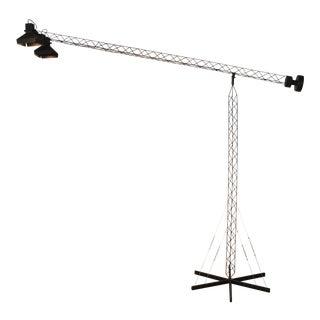 Black Crane Boom Lamp in Matte Black For Sale
