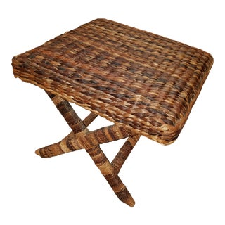 Seagrass Wrapped X Base Ottoman For Sale