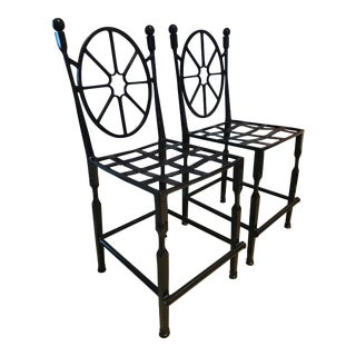 Vintage Iron Wheel Spoke Bar Stools (Billiards Height) - Newly Refinished in a Glossy Black