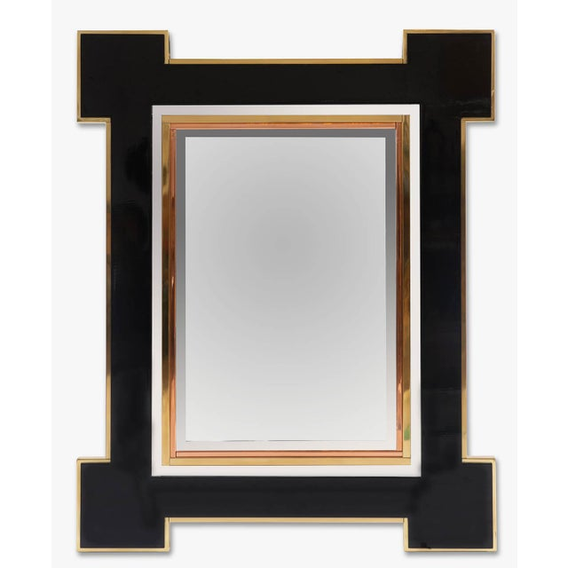 1975 Alain Delon for Maison Jansen Lacquer and Brass Wall Mirror For Sale - Image 13 of 13