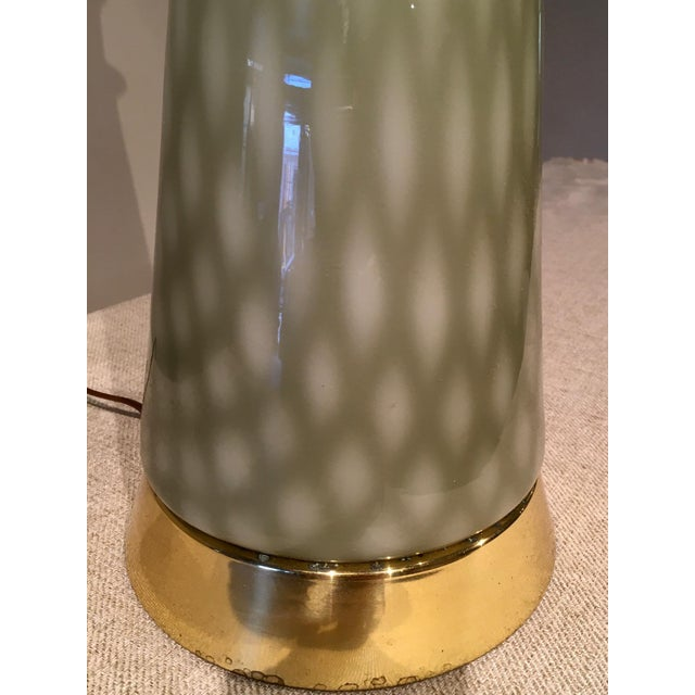 Vintage Gray Green Art Glass Mid Century Table Lamp For Sale In Chicago - Image 6 of 9