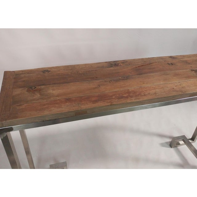 Modern Reclaimed Wood Console With Stainless Steel Base For Sale - Image 3 of 5