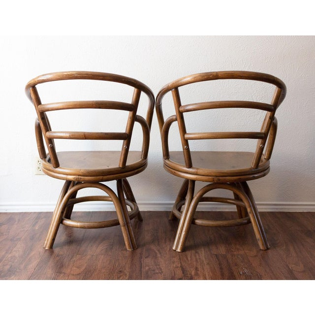 1960s 1960s Boho Chic Brown Jordan Rattan Swivel Chairs - a Pair For Sale - Image 5 of 13