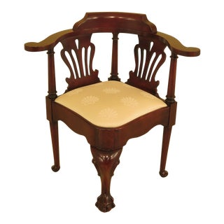 1990's Vintage Century Cherry Chippendale Clawfoot Corner Chair For Sale