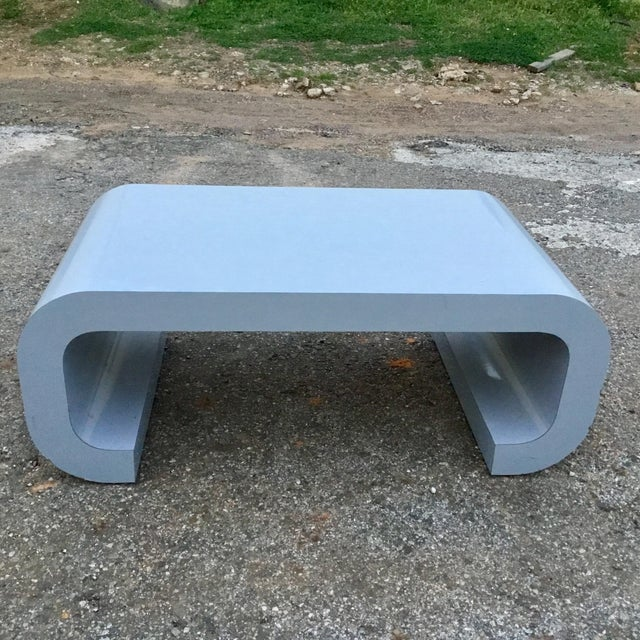 Lacquer Karl Springer Style Scroll Coffee Table For Sale - Image 7 of 7