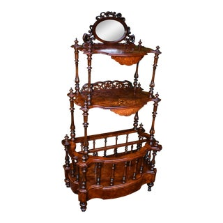 19th Century English Victorian Carved Burr Walnut Inlaid Canterbury Stand For Sale