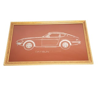 """Vintage Framed 1970s """"Datsun Z Series"""" Rust Red Screen Printing Over Metallic Glass For Sale"""