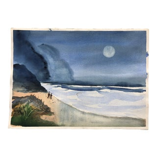 Vintage Watercolor of a Beach at Night, Two-Sided
