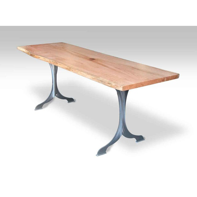 Oak Live Edge Oak Table With Brushed Steel Legs For Sale - Image 7 of 8