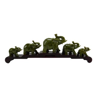 """Gorgeous Chinese Intricately Carved Jade Family of Elephants With Wood Base 20"""" For Sale"""