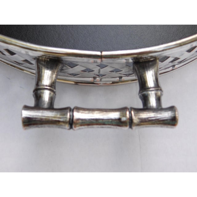 Vintage Faux Bamboo Silver Plated Serving Tray For Sale In Philadelphia - Image 6 of 9