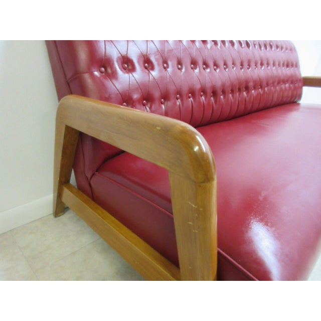 Vintage Heywood Wakefield Tufted Mid Century Sofa Settee For Sale - Image 9 of 11