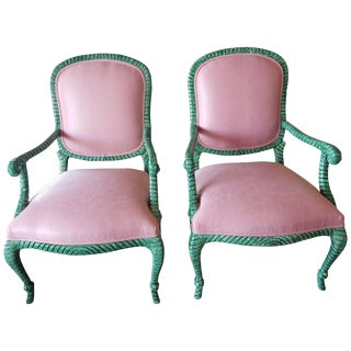 """Vintage """"Rope and Tassel"""" Malachite Hand Painted Chairs For Sale"""