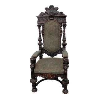 Early 20th Century Vintage Renaissance Style Throne Chair For Sale