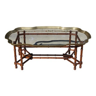Faux Bamboo, Brass & Glass Baker Style Coffee Table For Sale