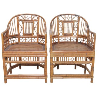 Pair of Vintage English Regency Bamboo Chairs For Sale