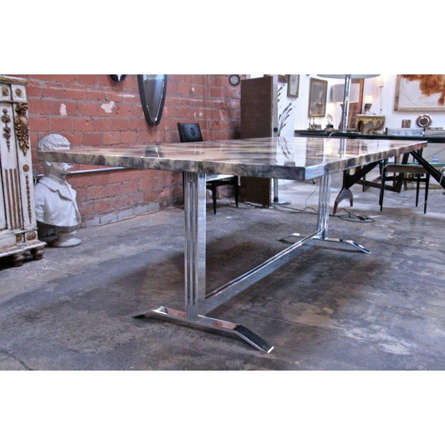 Parchment and Resin Dining Table with Stainless Steel Base For Sale In Los Angeles - Image 6 of 9