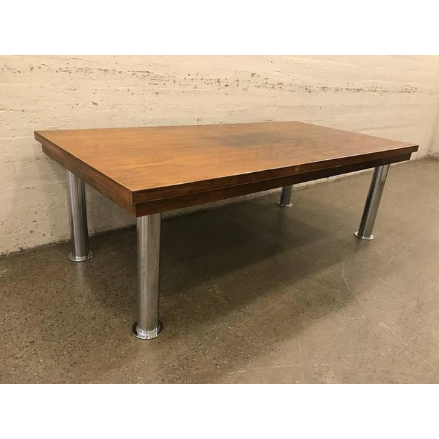 Mid-Century Modern Rosewood and Chrome Conference Table For Sale - Image 3 of 6