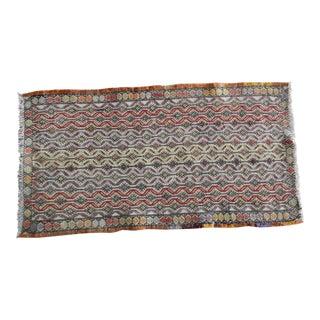 Handwoven Turkish Kilim Rug Pastel Colors Area Rug Petite Braided Kilim 1′6″ × 2′10″ For Sale