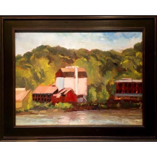 """""""Bucks Playhouse Afternoon"""" Contemporary Rural Landscape Oil Painting, Framed For Sale"""