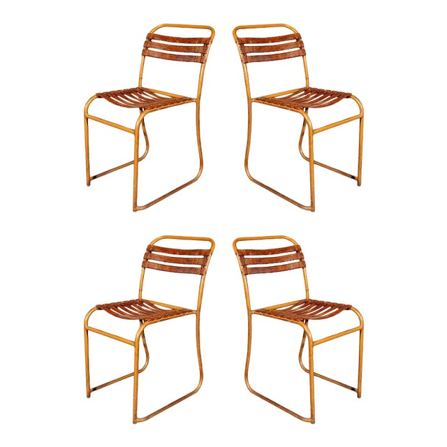 Painted Bakelite Slat Stacking Chairs, England, circa 1940 For Sale