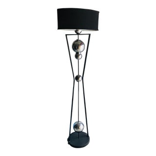 Art Deco Style Chrome and Black Floor Lamp For Sale