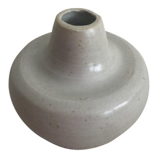 Boho Chic MANA Ceramics Dove Gray Pottery Bud-Vase For Sale
