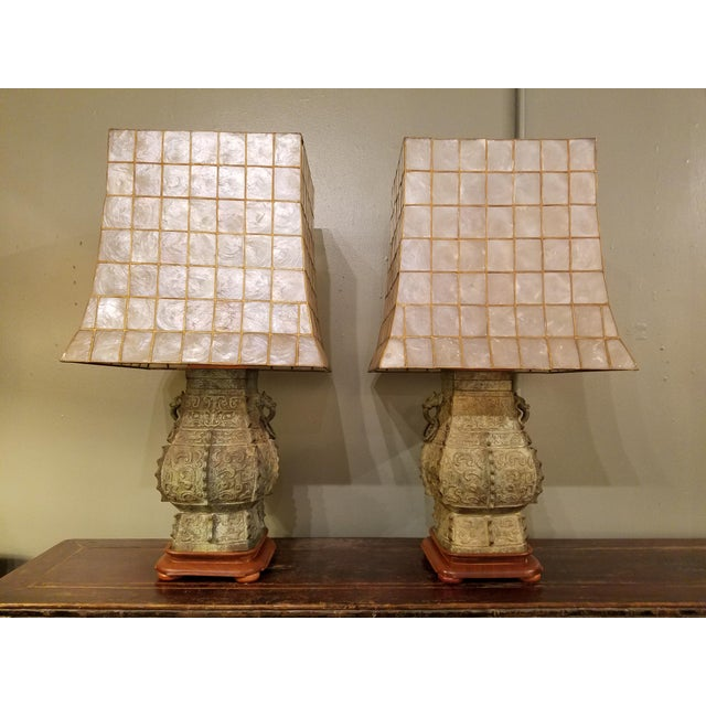 James mont style capiz shell shade lamps a pair chairish james mont style capiz shell shade lamps a pair image 2 of 5 aloadofball Image collections