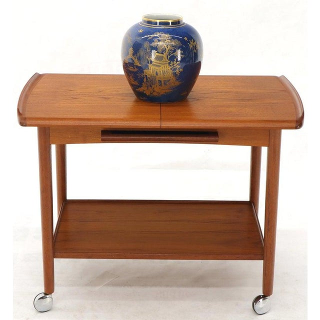 1970s Danish Mid-Century Modern Teak Expandable Cart With One Leaf For Sale - Image 5 of 13