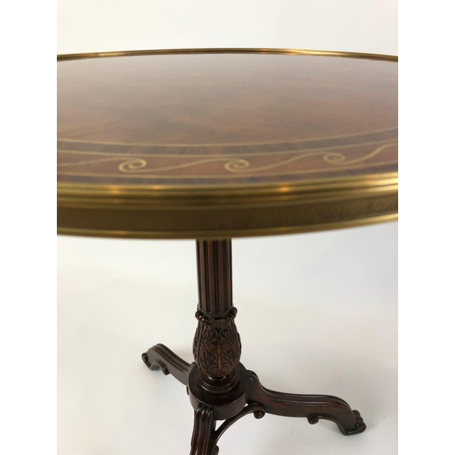 Theodore Alexander 1990s Neoclassical Theodore Alexander Burl & Zebrawood Round Side Tables - a Pair For Sale - Image 4 of 9