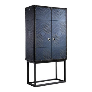 Walnut Cocktail Cabinet on Stand by Jacobo Ventura For Sale