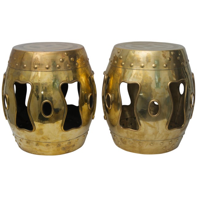 Gold Chinese Mid-Century Brass Garden Stools - a Pair For Sale - Image 8 of 8