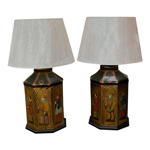 Antique Tole Lamps - a Pair For Sale