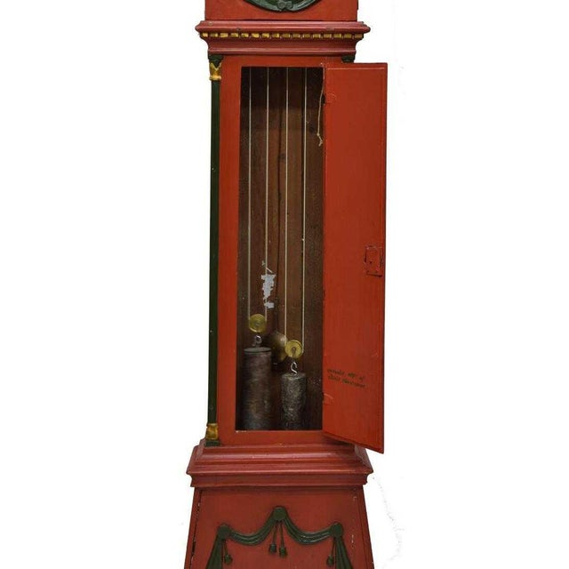 Early 20th Century Danish Empire Bornholm Painted Grandfather Clock For Sale - Image 5 of 8