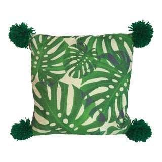 Monstera Green Pom Poms Leaf Pillow For Sale