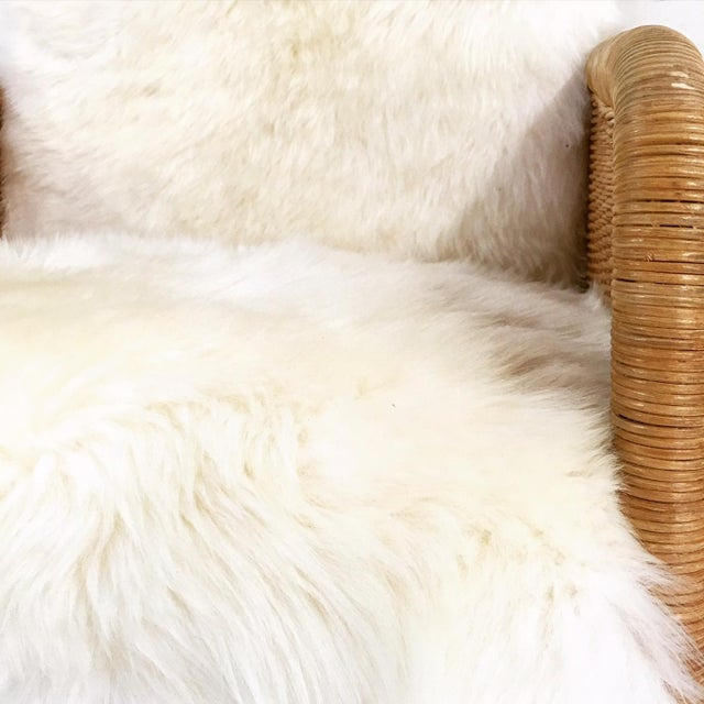 Woven Sheepskin Cushion Chairs - Pair - Image 6 of 6