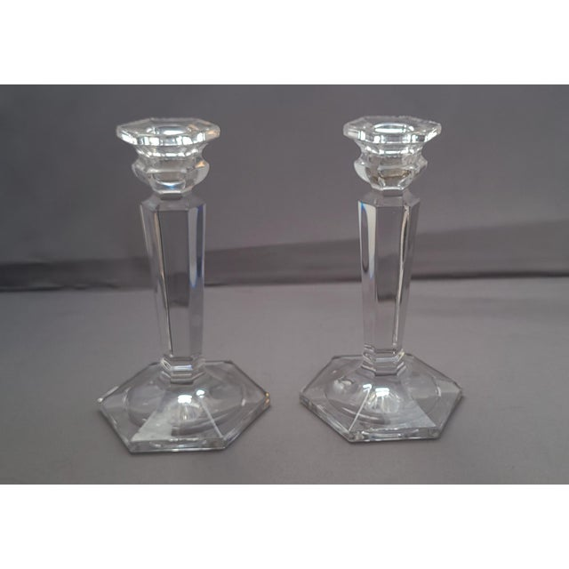 Transparent Decorative Glass Tabletop Candlestick Stands - a Pair For Sale - Image 8 of 8