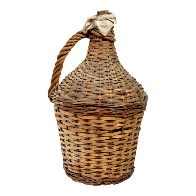 Vintage Wicker Covered Green Glass Wine Jug With Cork and Cloth For Sale